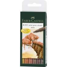 Pochette De 6 Feutres Pitt Artist Pen Brush ton terre - Faber Castell