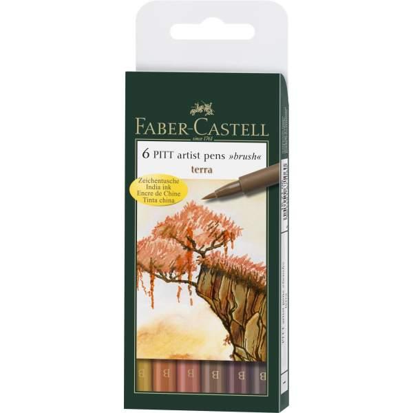 RAYART - Pochette De 6 Feutres Pitt Artist Pen Brush ton terre - Faber Castell