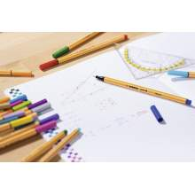 RAYART - Stylo feutre pointe fine  Pochette de 30 stylos feutres dont 5 couleurs fluo Stabilo pointe 88