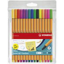 RAYART - Stylo feutre pointe fine  Pochette de 15 stylos feutres dont 5 couleurs fluo Stabilo pointe 88