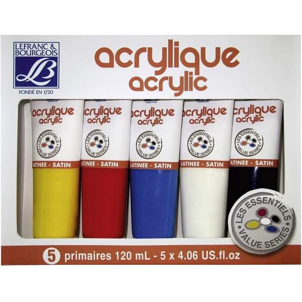 RAYART - Set de 5 Peinture acrylique 120 ml  Lefranc & Bourgeois