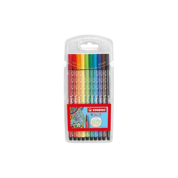 RAYART - Feutre à dessin pointe moyenne pochette de 10 - STABILO Pen 68