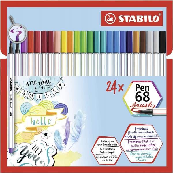 RAYART - Feutre Pinceau aquarellable Pochette de 24 Feutres STABILO Pen 68 Brush