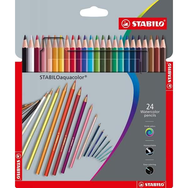 RAYART - Crayon de couleur aquarellable 24 pièces Stabilo Aquacolor