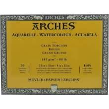 RAYART - Bloc Aquarelle Grain TORCHON 20 Feuilles Natur Blanc 185G 23 x 31cm , 31 x 23 cm - Arches