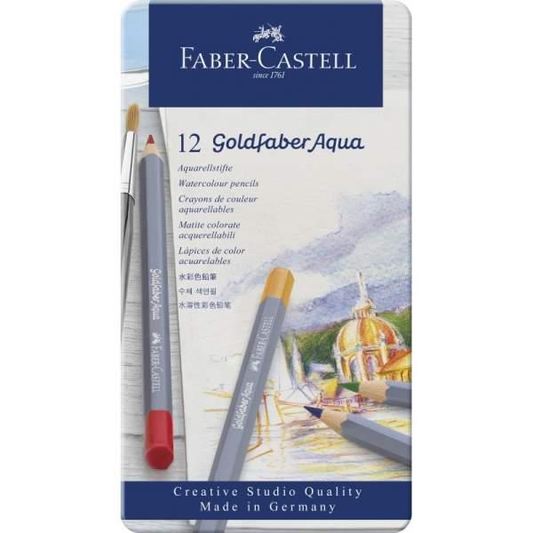 RAYART - Boite métal de 12 Crayon aquarelle Goldfaber Aqua - Faber Castell