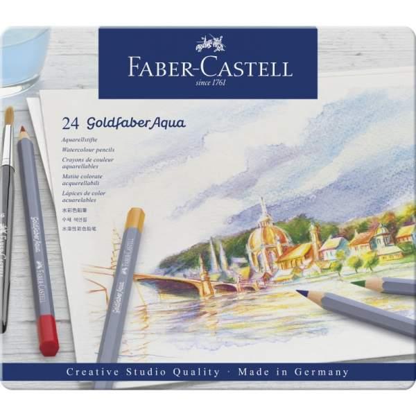 RAYART - Boite métal de 24 Crayon aquarelle Goldfaber Aqua - Faber Castell
