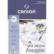 RAYART - Bloc de 50 feuilles de papier dessin IMAGINE Mix Media 200g A5 - Canson