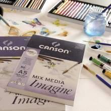 RAYART - Bloc de 50 feuilles de papier dessin IMAGINE Mix Media 200g A4 - Canson