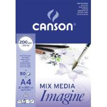 Bloc de 50 feuilles de papier dessin IMAGINE Mix Media 200g A4 - Canson