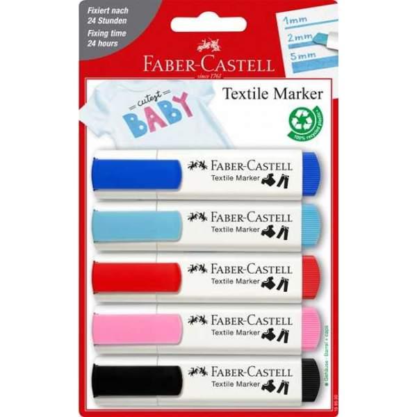 RAYART - Set de marqueurs textile, 4 couleurs bébé et 1x noir - Faber Castell