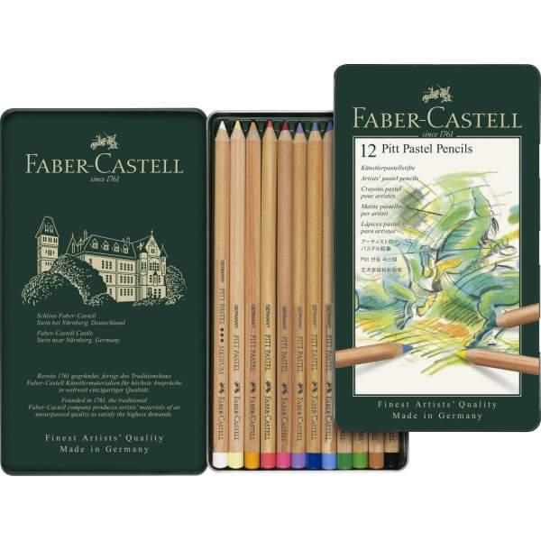 RAYART - Crayon Pitt Pastel boîte métal de 12 Faber Castell