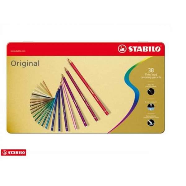 RAYART - Boîtier en métal Crayons de couleur STABILO Original 38 pièces