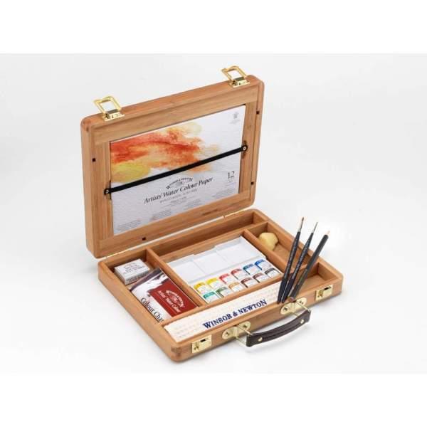 RAYART - Coffret bambou aquarelle extra fine Artists demi godets Winsor & Newton