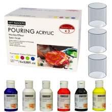 Set Pouring Acrylique couleur primaire 6 tubes*100ml Art Ranger