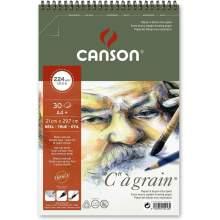 """Album Papier à dessin """"C"""" à Grain Spiral Notebook A4+, 30 Feuilles , 224 g/m² Blanc Naturel - Canson"""