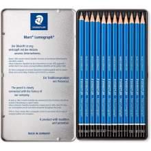 RAYART - Boîte métal de 12 crayons assortis Lumograph Graphite - Staedtler