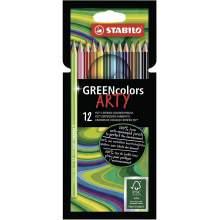 RAYART - Etui carton 12 Crayons de couleur GREENcolors ARTY STABILO