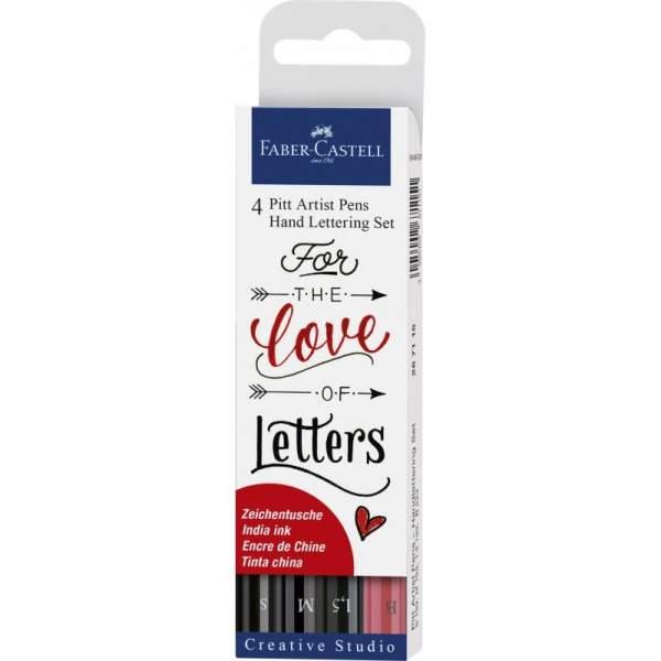 RAYART - Set Feutres Pitt Handlettering Rouge - Faber Castell