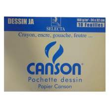 RAYART - Pochette Canson JA 24X32 160° 10F Blanc